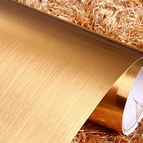 ELTON Metallic Brush Gloss Vinyl Self Adhesive Contact Paper for Bathroom Kitchens Closets Pooja Room Chimney Craft Projects Furniture Cabinets Doors Walls and Fridge, 16 X 48 Inch, Golden