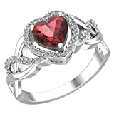 Belinda Jewelz 925 Solid Real Sterling Silver Heart Shaped Gemstone Cubic Zirconia Diamond Prong Rhodium Engagement Wedding Classic Womens Fine Jewelry Twisted Band Ring, Garnet Red, Size 7