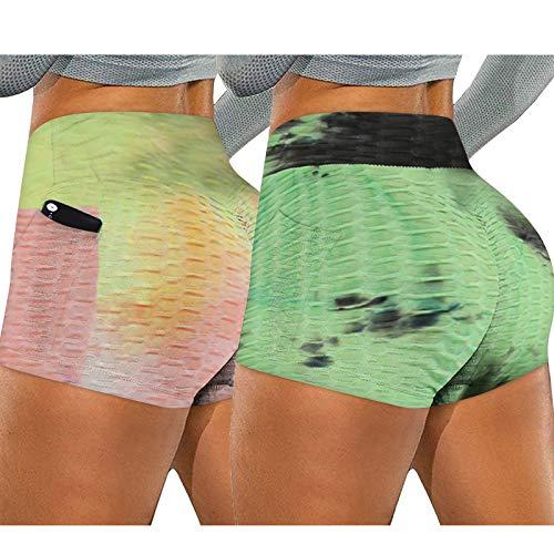 Tie-Dye Bolsillos Pantalon Deportivo Cortos para Yoga,Leggings Mujer Mallas Fitness Transpirables Running Training Estiramiento Pilates Gran Elásticos Mallas de Deporte de Mujer