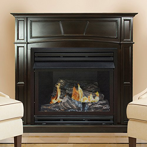 Pleasant Hearth 46 Full Size Natural Gas Vent Free Fireplace System 32,000 BTU, Rich Tobacco