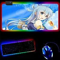 ゲーミングマウスパッドより良い世界に祝福を与えるアニメRGBマウスパッド大型ゲーミングマウスマットLEDカラフルなグローマウスパッドUSBケーブル付きノートブックキーボードパッド-40x45x0.4cm