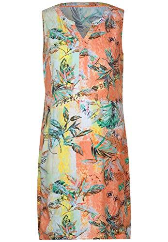Cecil Damen 142669 TOS Dobby Top Dress Kleid, Cantaloupe orange, Small