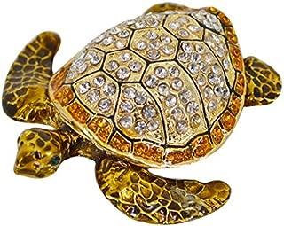 Kennedy Delicate Hand- Painted Turtle Alloy Jewelry Box Sparkling Rhinestones Jewelry Trinket Box