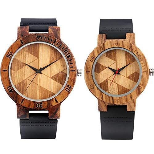 Elegante diseño de Molino de Viento Pareja Relojes de Madera Reloj de Pulsera de Cuarzo de Madera de Amante de Cuero Genuino Negro CoupleWatch11