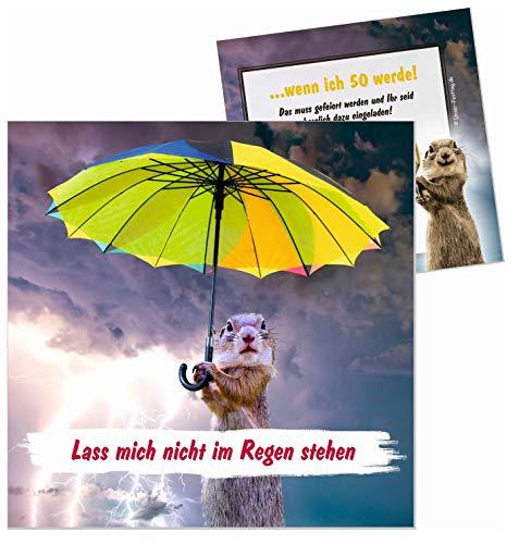Unser-Festtag Lass mich nicht im Regen stehen zum Geburtstag Erwachsene, Mann Frau - für jedes Alter - 20 Karten