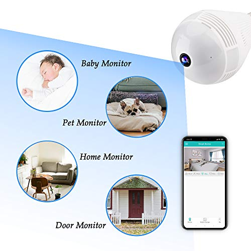 Light Bulb Camera, 360 Degree VR WiFi Panoramic Camera 1080p Wireless Fisheye Security IP Camera for Home Baby Pet Monitor Remote Viewing with IR Night Vision, Two-Way Audio, Motion Detection - 2.4GHz