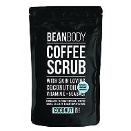 Mr. Bean Organic All Natural Coffee Bean Exfoliating Body Skin Scrub with Coconut Oil, Vitamin E, and Sea Salt - Coconut