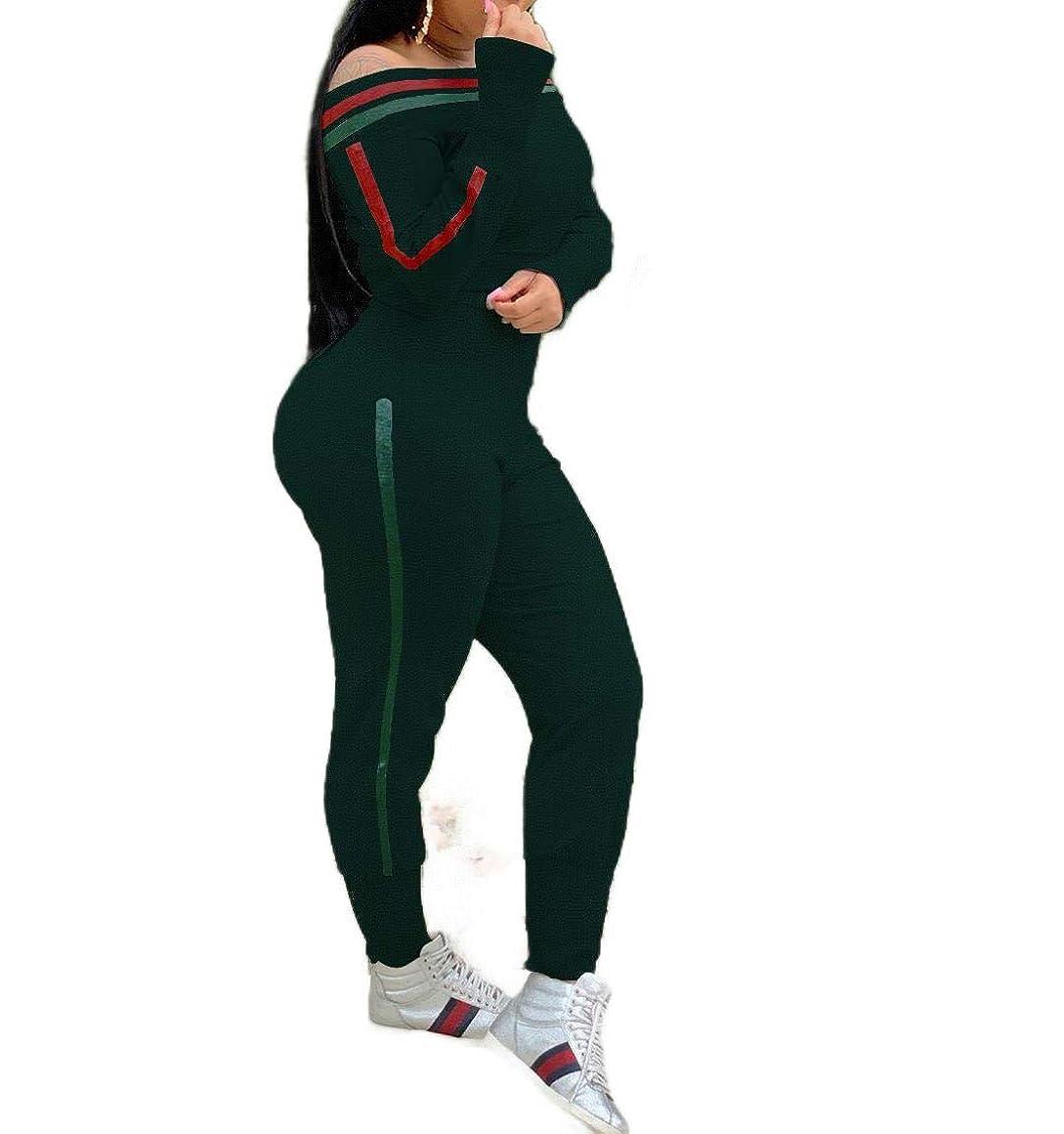 酸っぱいオークション一元化するWomens Off Shoulder Top and Workout Pants Sweatsuit 2-Piece Suit