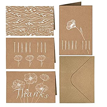 4x6 Thank You Cards 20 Pack Brown Craft Paper 4 Designs of Assorted Blank Thank You Greeting Cards with Envelopes for Birthday Wedding Bridal/Baby Shower Celebrations