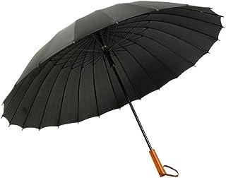 JOYS CLOTHING 24骨大人ストレート傘傘無地ビジネス木製ハンドルストレート傘 (Color : Black)