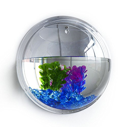 UEB Wall Hanging Fish Tank, Plant Wall Hanging Mount Bubble Aquarium Bowl Fish Tank Aquarium Home Decoration (Mirror)