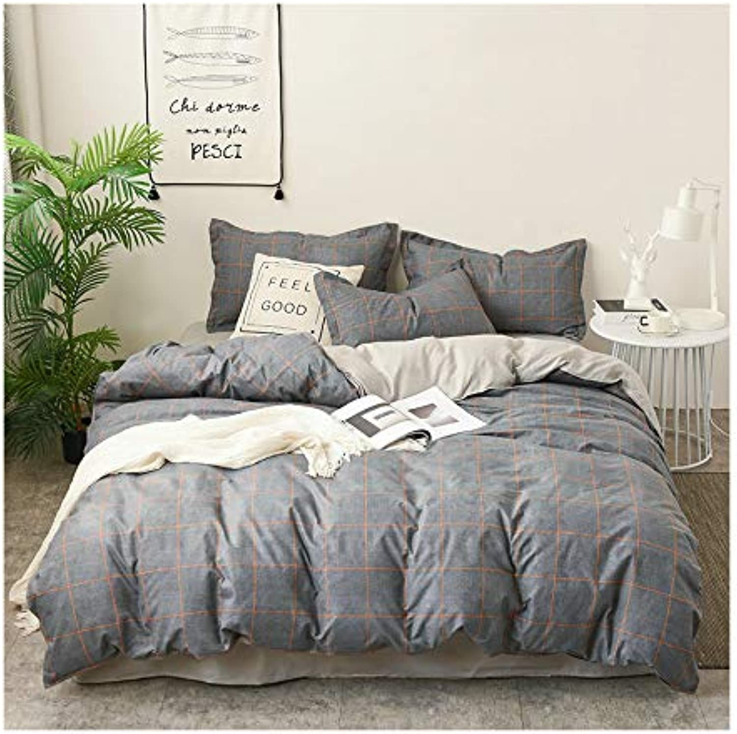 KFZ Hydro Cotton Bed Set Twin Full Queen King Sheets Set Duvet Cover Flat Sheet Pillowcase No Comforter XS1811 Prague Plaid Stripe Plain Design for Kid Adult (Time Stripes, Multi, Full 70 x86 )