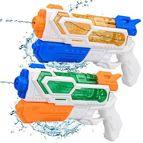 Balnore Wasserpistole Spielzeug für Kinder, 2 Stück 400ML Wasserspritzpistolen mit 8-10 Meter Reichweite, Water Gun Water Blaster für Sommerparty, Kindergeburtstagsparty, Garten, Pool, Strand, Meer