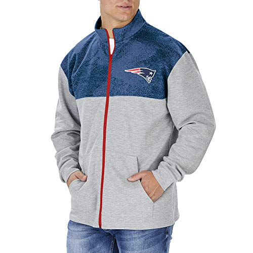 Zubaz Officially Licensed NFL Men's New England Patriots Heather Gray Full Zip Track Jacket with Tonal Navy Blue Static Yoke, Size Small