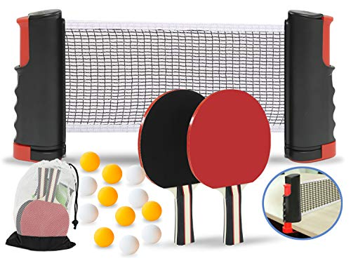 Save %44 Now! Professional Ping Pong Paddles (2 Player Bundle) w/Complete Ping Pong Table Accessorie...