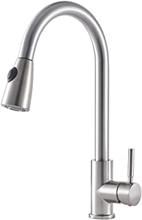 Pull Down Nozzle Faucet, Kitchen Sink Faucets with Pull down Sprayer, Single Handle Stainless Steel with 2 Spray Modes, 360 Degree Swivel Hot& Cold Mixer Water-Tap