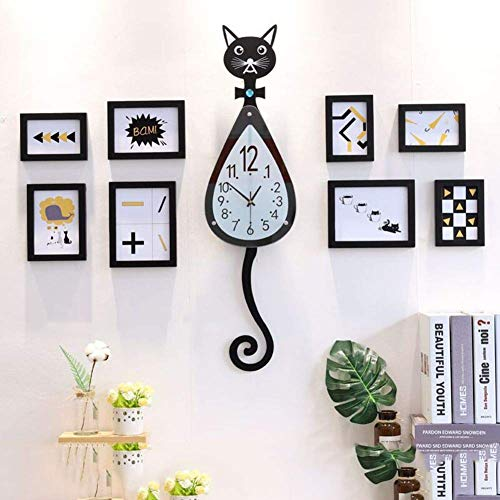 Relaxbx Cat Wall Clock With Swinging, Creative Pendulum Wall Clock Wooded Home Decor Silent Hanging Clocks For Home Office-e 90x30cm(35x12inch)
