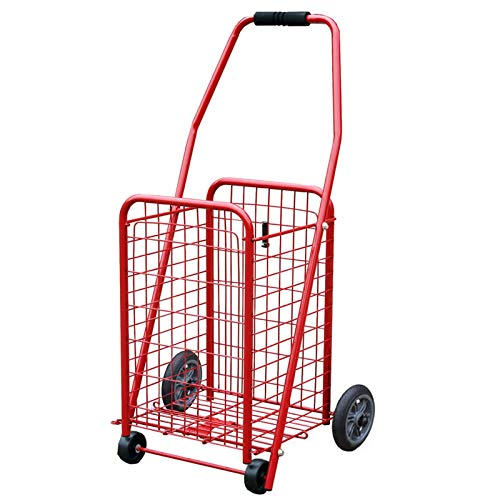 JXSHQS Folding shopping cart with 4 wheels, light shopping cart, grocery folding cart, folding utility cart, multi-function trolley cart, rotating 360 Shopping Trolleys (Color : Red 4 wheel)