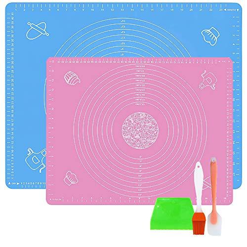 LandJoy Backmatten Silikon,2 Pcs Groß Antihafte Rutschfeste Backunterlage,Arbeitsmatte mit Messung,Teigmatte für Fondant Gebäck Matte mit Teigschaber,Teigkarte und Backpinsel(Blau 70*50,Rosa 50*40) …