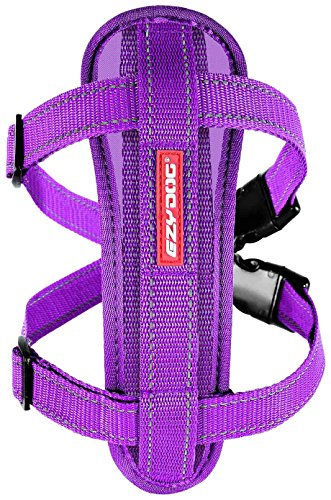 EzyDog Premium Chest Plate Custom Fit Reflective No-Pull Padded Comfort Dog Harness - Perfect for Training, Walking, and Control - Includes Car Restraint Attachment (Large, Purple)