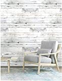 Wood Peel and Stick Wallpaper Shiplap Grey/White Removable Distressed Wood Grain Self-Adhesive Wallpaper,Waterproof Shelf Liner for Home Decaration 17.7''x118.1''