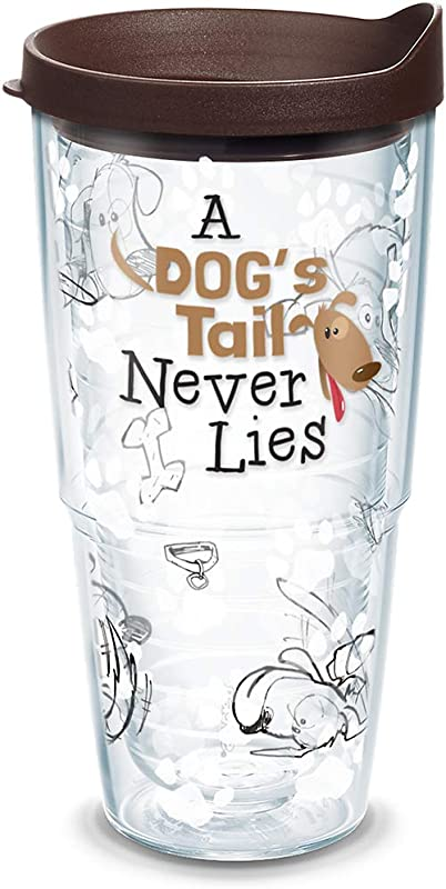 Tervis 1133010 A Dog S Tail Never Lies Insulated Tumbler With Wrap And Brown Lid 24Oz Clear