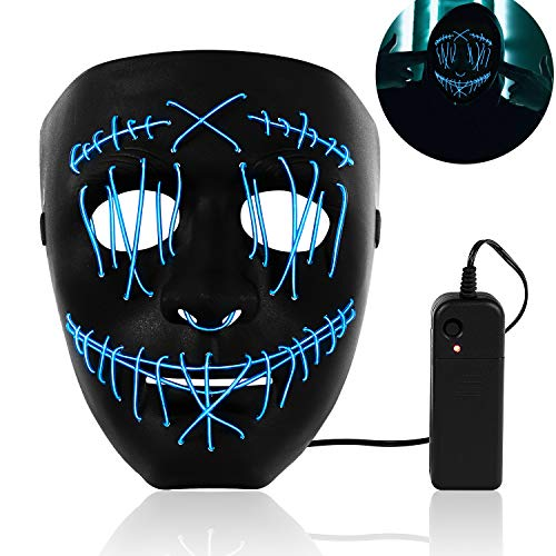 SZILBZ LED Purge Maske, Halloween LED Mask mit 3 Blitzmodi für Party Halloween Fasching Karneval Kostüm Cosplay Dekoration Blau