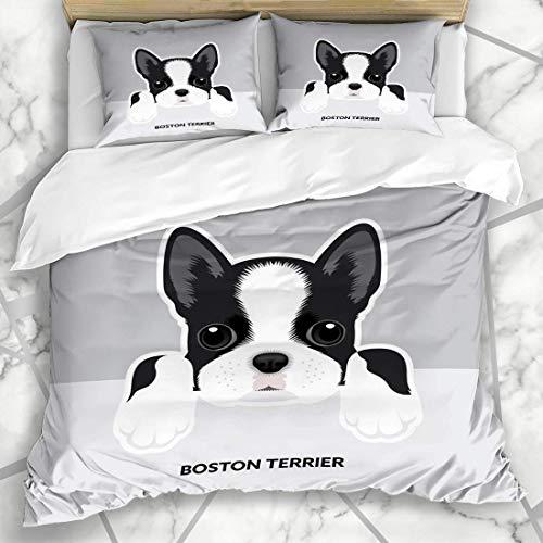HARXISE Bettwäsche - Bettwäscheset Reinrassiger Netter Boston-Terrier-Hündchen-schwarzes Gesichts-Bulldoggen-französischer Hauptstammbaum Mikrofaser weich dreiteilig160*220