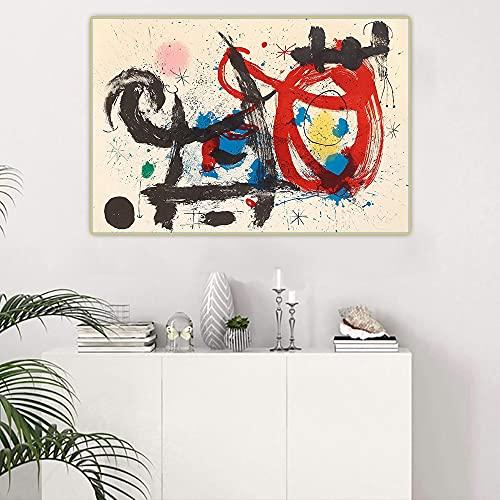 Joan Miro El caballo borracho Cuadros Decoracion Salon Cuadros Para Dormitorios Modernos Lienzos Decorativos Cuadros Para Cabeceros De Cama Laminas Decorativas Pared (55x82cm) sin marco