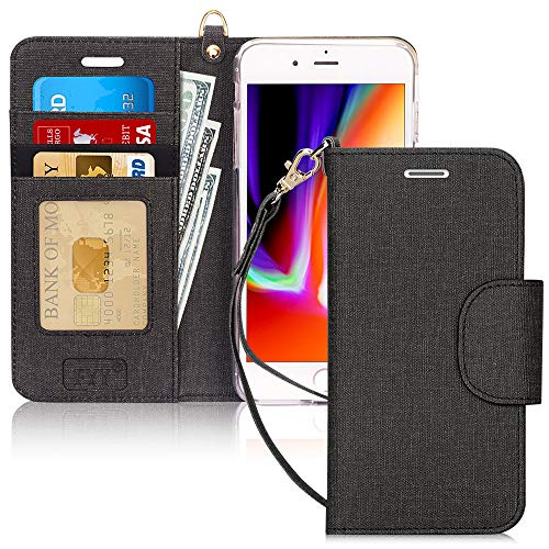 FYY Case for iPhone 8 Plus/iPhone 7 Plus,[Kickstand Feature] Luxury PU Leather Wallet Case Flip Folio Cover with [Card Slots] [Wrist Strap] for Apple iPhone 8 Plus 2017/7 Plus 2016 (5.5') Ink