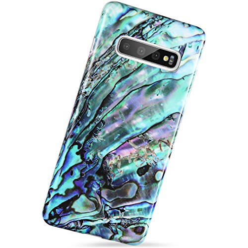 VIVIBIN Samsung Galaxy S10 Case?NOT for Big Size S10+ Plus? Green Oyster Shell Design,Slim-Fit Scratch Resistant Shock Proof Flexible Glossy Soft Silicone Phone Case Cover for Galaxy S10 6.1 inch