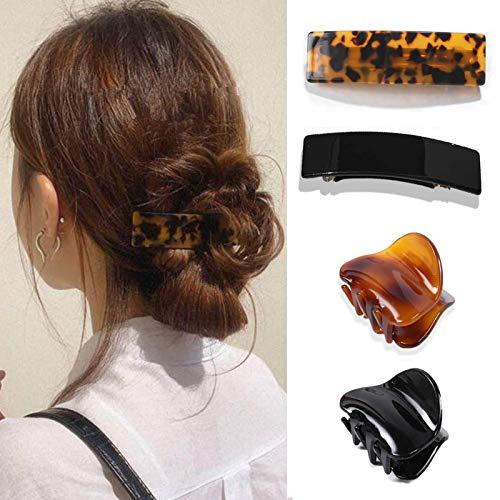 4点セット ヘアクリップ バンスクリップ ヘアピン 髪留め 髪飾り ヘアアクセサリー べっ甲風 ヘアアレンジ ハーフアップ シンプル レディース ギフト プレゼント (01)