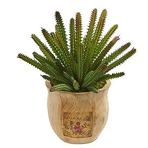 Nearly Natural Mini 10in. Cactus Succulent Artificial Decorative Planter Silk Plants, Green
