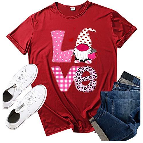 jieGorge Blusa para Mujer Casual, Fashion Love Valentine 's Day Print O-Cuello de Manga Corta Camisa, Blusa y...