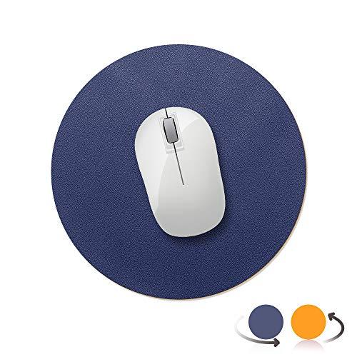 AtailorBird Tapis de Souris Rond 220x220x2mm, Antidérapant Tapis de Bureau Cuir PU Étanche pour Ordinateur Clavier Gaming Double Face, Bleu/Jaune