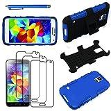 ebestStar - Funda Compatible con Samsung S5 G900F, Galaxy S5 New G903F Neo Carcasa Robusta Shock-Absorción Rigida Silicona Case + Lápiz +3 Peliculas, Azul [Aparato: 142 x 72.5 x 8.1mm, 5.1'']
