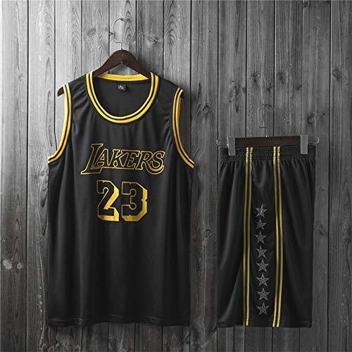 Jerseys De Baloncesto para Hombre, NBA Los Angeles Lakers # 23 Lebron James - Niño Adulto Classic Chalt Tops Comfort Transpirable Deporte Sin Mangas Camiseta Uniformes,Negro,L(Child) 135~145CM