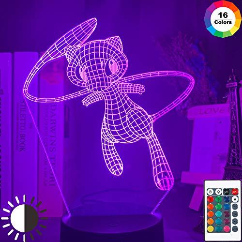 KangYD 3D Nachtlampe Pokemon Mew Figur, LED Optische Täuschungslampe, A - Black Base Berühren (7 Farbe), Geschenk für Mädchen, Schreibtischlampe, Bar Dekor, Dekor Geschenk