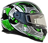 Vega Helmets 61215-201 Ultra Electric Snow Unisex-Adult Full Face Snowmobile Helmet with Heated Shield (Green Shuriken Graphic, X-Small)