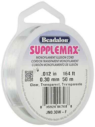 Beadalon Supplemax 0.30 mm (0.012') Nylon Bead Stringing Material, 50 m (164 ft), Clear Monofilament Illusion Cord