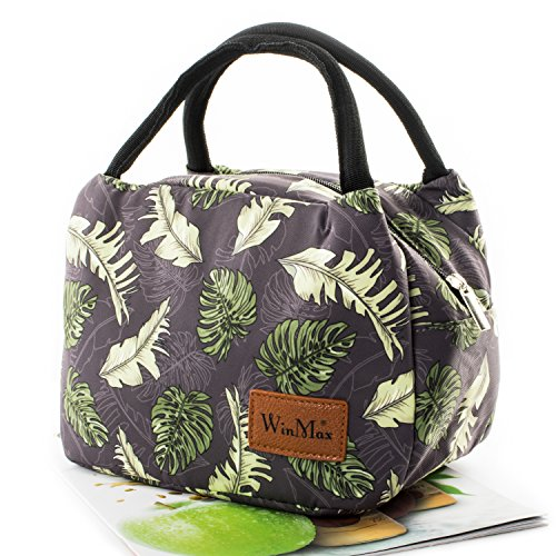 Fashionable Lunch Box for Women Insulated Cute Lunch Bag Girls - PinkHeartColour stripe Coconut leaf