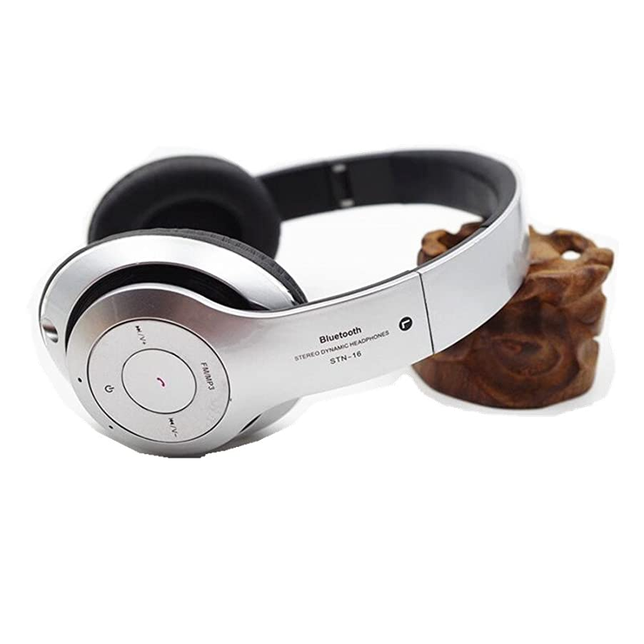 申し立てられたピーブ生じるOUGUAN 密閉型 無線 ワイヤレスヘッドホン 折畳み型 Bluetooth ヘッドフォン 3.5mm端子 オーディオ有線ヘッドセット 無線と有線両用 銀色