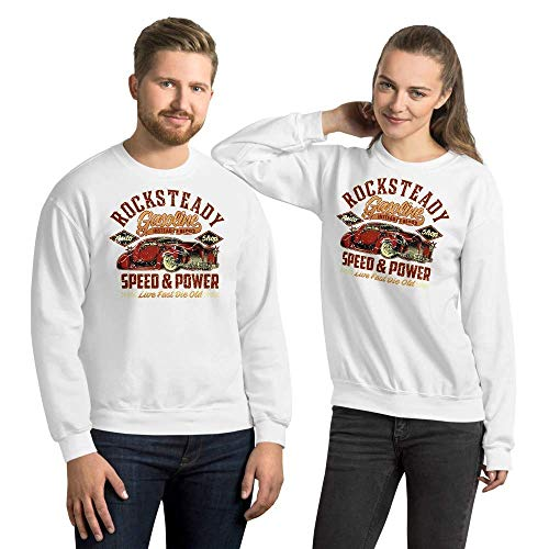 Rocksteady Gasoline Hot Rod, Sudadera Unisex, Sweatshirt, S - 5XL, 10 Colores Diferentes White 2XL