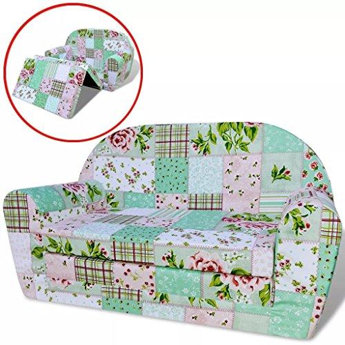 Sofá cama para niños estampado avión – tumbona desplegable 78 x 100 x 46 cm (ancho x profundo x alto)