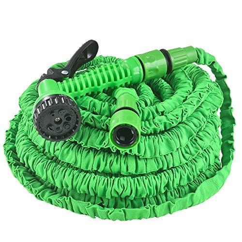Juskys Flexibler Gartenschlauch Aqua - Wasserschlauch flexibel dehnbar bis 30 m – Flexischlauch knickfest mit 7-Funktions-Handbrause & Adapter – Grün