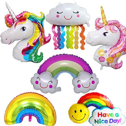 BESLIME Unicornio y Arco Iris Globo de Cumpleaños Kit-de Fiesta de Cumpleaños Feliz Suministros con Globos de Unicornio Banner de Cumpleaños de Arco Iris, Gran Regalo para Niños y Amigo