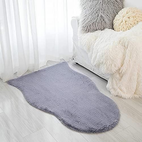 VOFUSHON Alfombra De Piel De Conejo Artificial,Antideslizante Lujosa Suave alfombras mullidas de Interior,Alfombra Salon Grandes Shaggy Adecuado para salón Dormitorio sof(60 x 90 cm,Gris )