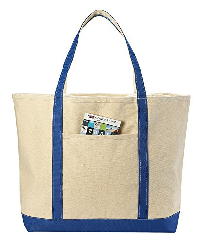 Canvas Tote Beach Bag - These Large Bags Are Strong Enough to Carry Beach Gear and Wet Towels. Front Pocket, Zippered Top Closure and Shoulder Straps for Easy Carrying. (Royal Blue | 22 x 16 Inches)