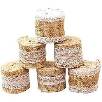 Costura Material Adornos Encaje para DIY Ropa Dise/ño de Bodas y Fiestas LEMESO 8 rollos de Cinta de Encaje de Arpillera Natural