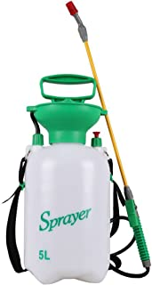 Home Decision HOMEDECISION 5L Lawn and Garden Pump Pressure Sprayer with Shoulder Strap for Herbicides, Pesticides, Fertilizers, Mild Cleaning Solutions and Bleach White